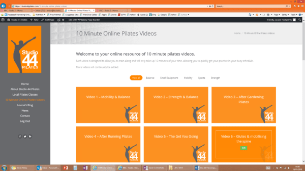 10 minute pilates online screenshot