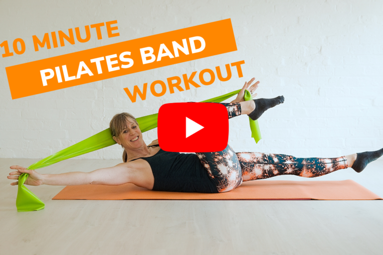 Women doing criss cross pilates move with a green resistance band
