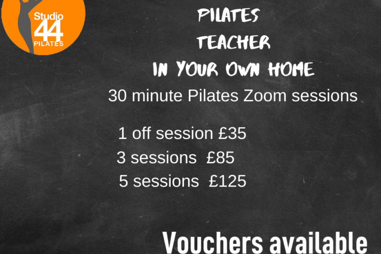Blackboard background with an ornage Studio 44 pilates logo in top left corner. White writing with the pilates 121 sessions and prices
