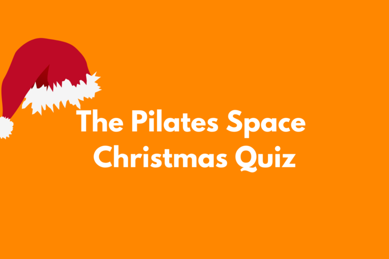 Orange background with white words saying The pilates space Christmas quiz wih Santa hat on the THE