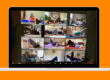 orange background with image of laptop with people doing a zoom pilates class online