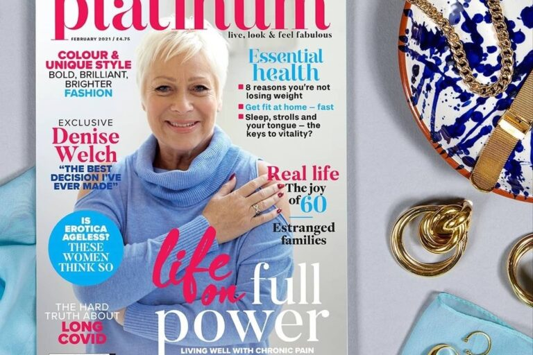 Grey backround with pale blue gloves, blue and white plate and a copy of Platinum magazine