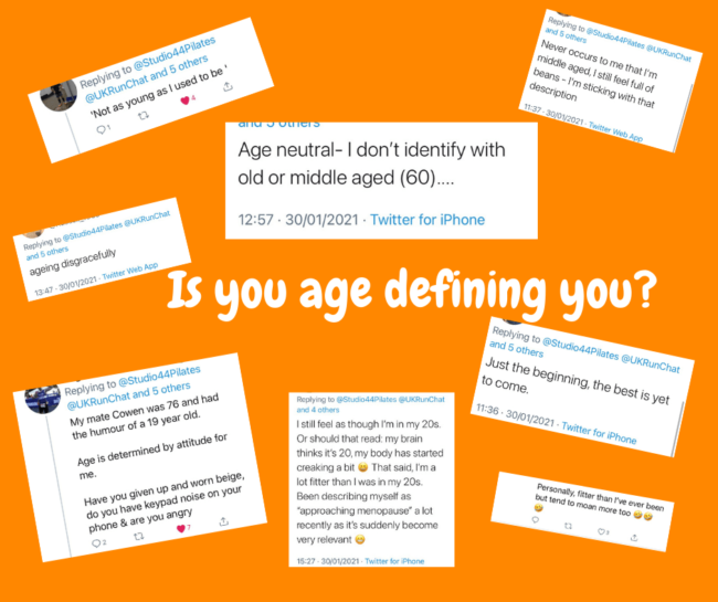 orange back ground with screen shots of tweets about middle age