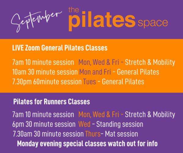 Pilates for Runners September timetable